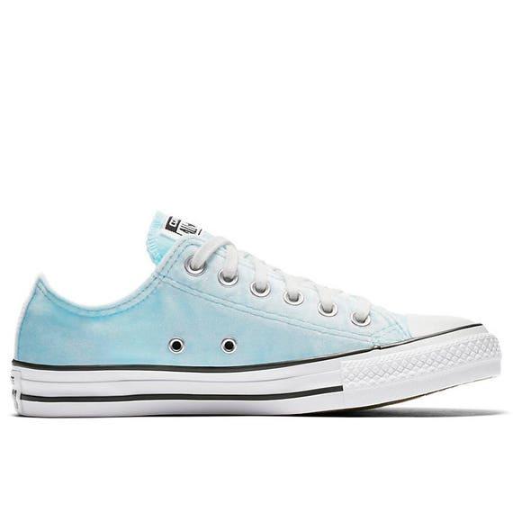 Baby Blue Converse Velvet Low Top Chuck Taylor Glacier Wedding Bridal Kicks Sea Foam w Swarovski Crystal All Star Sneakers Trainers Shoes