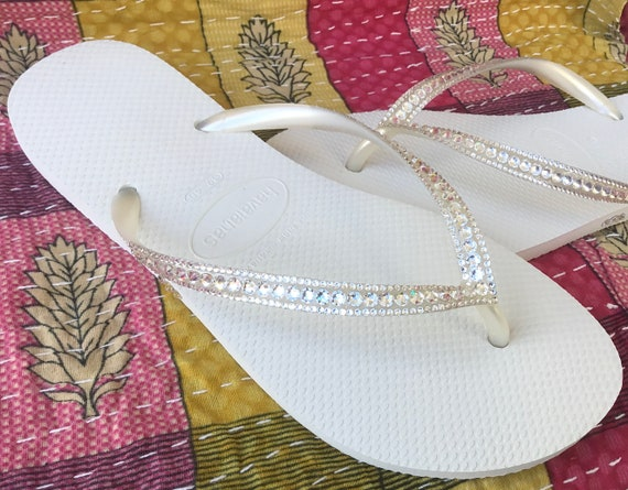 White Havaianas Slim Crystal Wedding flip flops Silver ocean sea Custom Bridal w/ Swarovski Bling Dynamite Rhinestone Beach Thong Shoes
