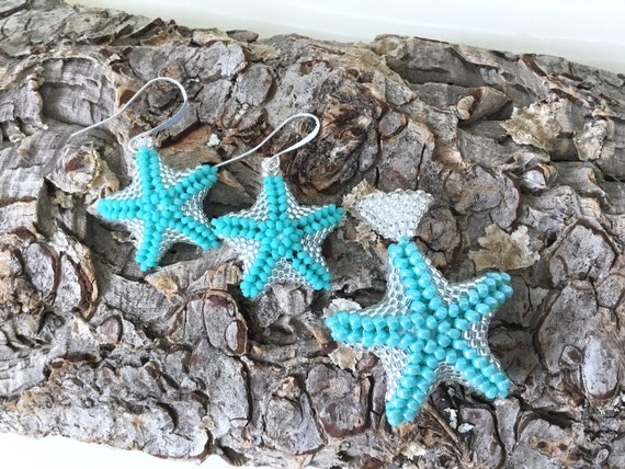Silver Starfish earrings Rainbow Pride Colors Bead Puff fish Drop EarWire Hook Pendant Hypo Titanium Silver Stainless Gold Seed Jewelry Gift