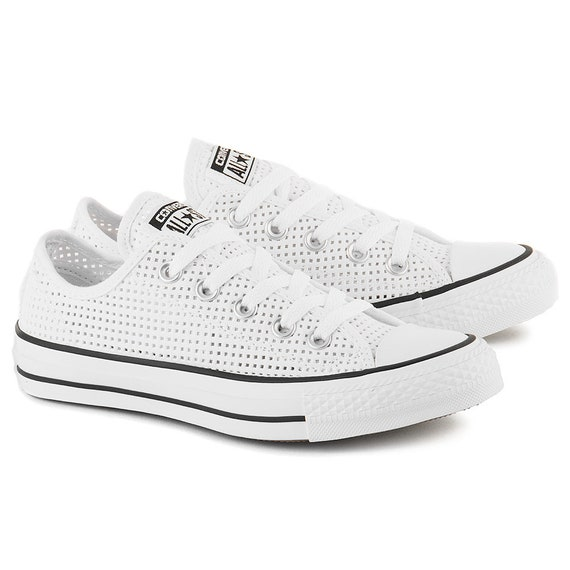 White Converse Low Top Chuck Taylor Perforated Air Conditioning Custom Cool Kicks w/ Swarovski Crystal All Star Wedding Bridal Sneakers Shoe