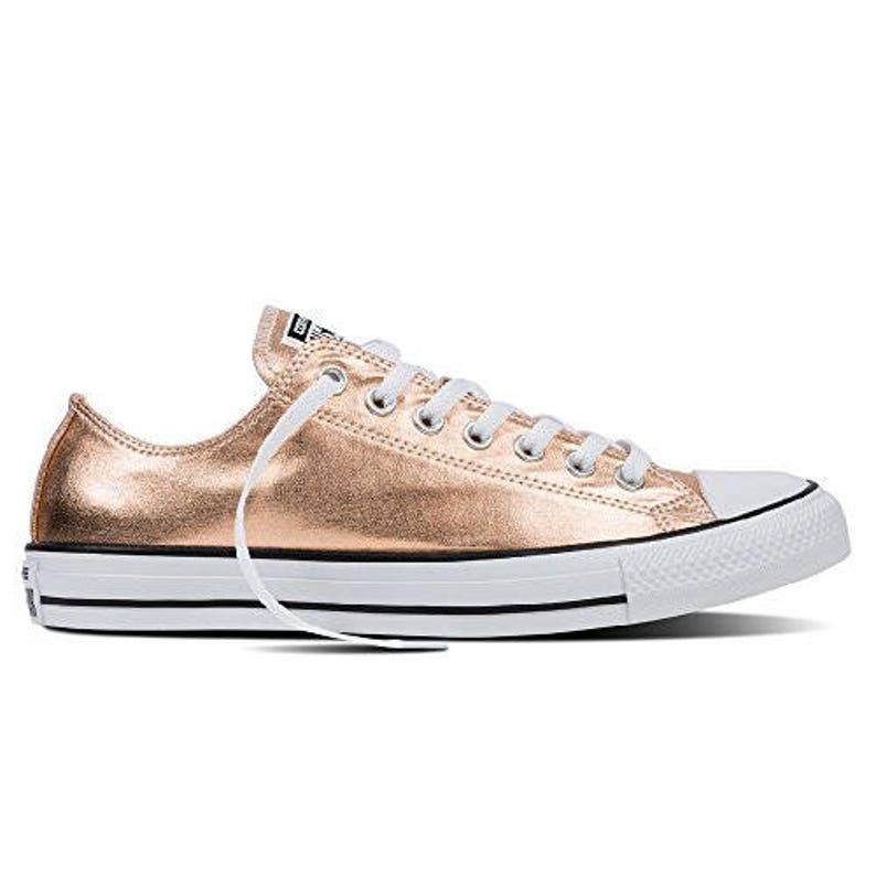 Rose Gold Converse niedrigen Top Blush Pink Kupfer Metallic w Swarovski Kristall Hochzeit Chuck Taylor Strass Bling All Star Sneakers Schuhe