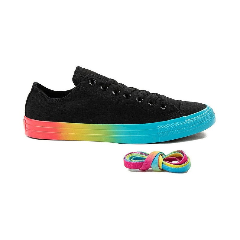 4df79e2fc818c0 Black Converse Rainbow Low 2019 Custom LGTBQ Pride Canvas w