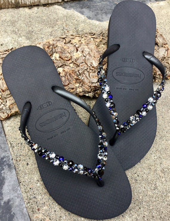 daac9d14e411c Crystal Flip Flops Beach Glass Black Silver Blue Havaianas Slim w/  Swarovski Rhinestone Ocean Sea Wedding Shoes Bling Jewels Bridal Slip on