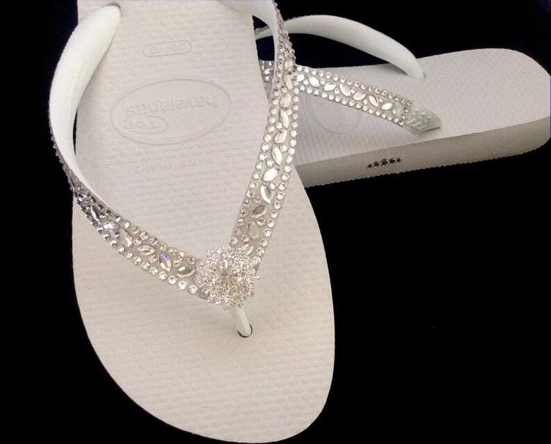 214202850 White Wedding Flip Flops Glass Slippers Blushing Bride w