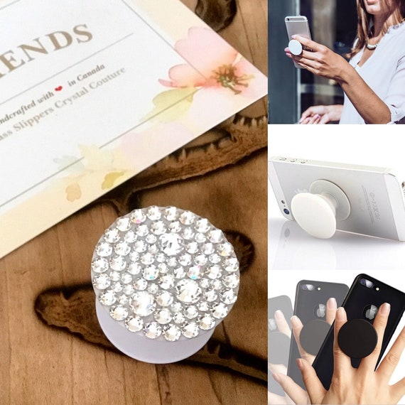 Crystal Diamond Clear Strass Phone Pop Grip Stand Dock 3M Prop Swarovski Bling Rhinestone Android Galaxy Apple iPhone Case Custom Tech Gift