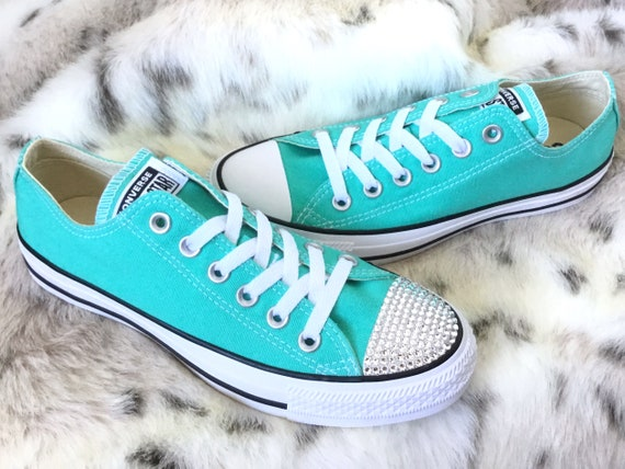 Aqua Blau Pure Petrol Converse niedrigen Türkis Bling Custom w Swarovski Kristall Strass Juwel Chuck Taylor All Star Sneakers Schuhe Hochzeit