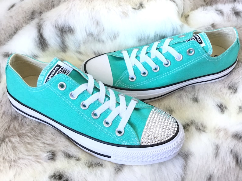0faa379652a959 Aqua Blue Pure Teal Converse Low Turquoise Bling Custom w