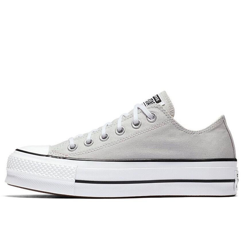 b1f99d2706236 Gray Converse Platform lift heels wedge White Grey Canvas Low Top ...