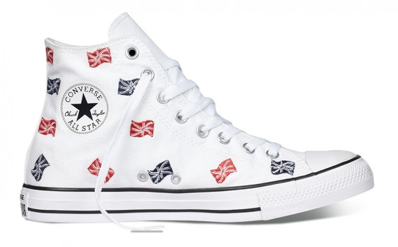 White Converse Union Jack Ladies Red White Blue Embroidery UK Flag British High Top w/ Swarovski Crystal Chuck Taylor All Star Sneakers Shoe
