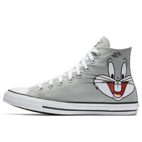 Looney Tunes Converse High Top Bugs Bunny Cartoon Gray Custom w Swarovski Crystal Rhinestone Jewel Chuck Taylor All Star Sneakers Shoes