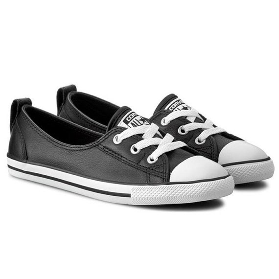 Black Leather Converse Slip On Low Top