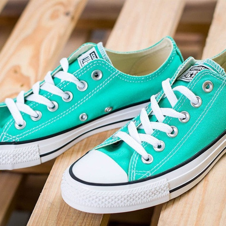 368654cfa78f74 Turquoise Converse Low Top Menta Mint Green Teal Custom Bride