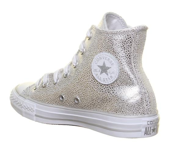 Silver Converse High Top Gray Stingray Grey Leather w/ Swarovski Crystal Rhinestone Bride Chuck Taylor All Star Wedding Bridal Sneakers Shoe