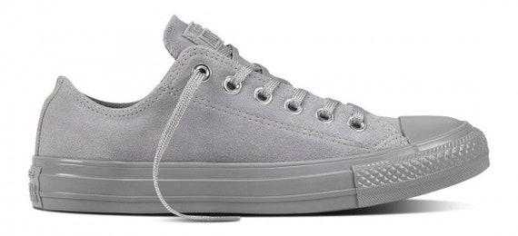 Converse grijze dolfijn grijs zilver Suede leder lage Top Chuck Taylor w Swarovski Crystal Bling Rhinestone bruiloft All Star Sneakers schoenen
