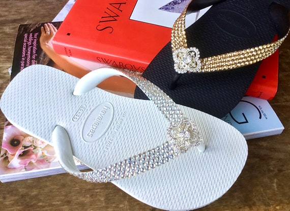 Crystal Havaianas Flip Flop flat or Cariris Wedge w/ Swarovski Rhinestones Custom Silver Filigree Bling Beach Wedding sandals Bridal Shoes