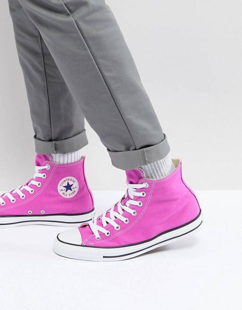 450bfffb0be9 Pink Converse High Tops Magenta Fuchsia Lilac Rose w