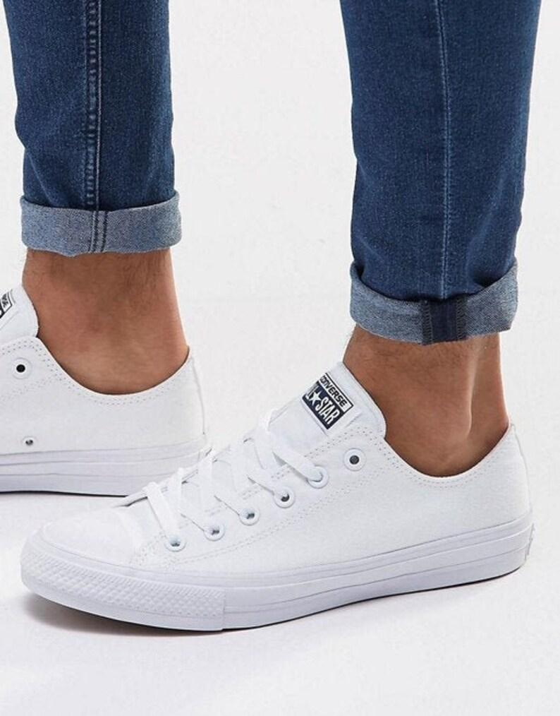 40b927fa524cc White Wedding Converse Low Top Canvas Chuck Taylor II Mono Bling Custom  Kicks w/ Swarovski Crystal Rhinestone All Star Bridal Sneakers Shoes