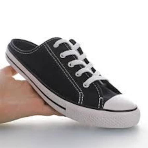 Black Converse Slip On Mule Custom Low Beach Bride Shoes Mono w/ Swarovski Crystal Chuck Taylor Rhinestone All Star Summer Wedding Sneakers