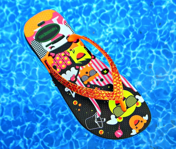 Orange Crystal Havaianas Flip Flops flat Neon Glow Halloween Custom w/ Swarovski Rhinestone Jewels Bling FUN Womens Beach Thongs Shoes