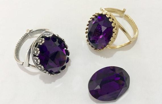 Purple Velvet Antique Silver plated or Gold Brass Bezel Finger Ring Adjustable Lock style Cocktail w/ Swarovski Crystal Jewel Ladies Gift