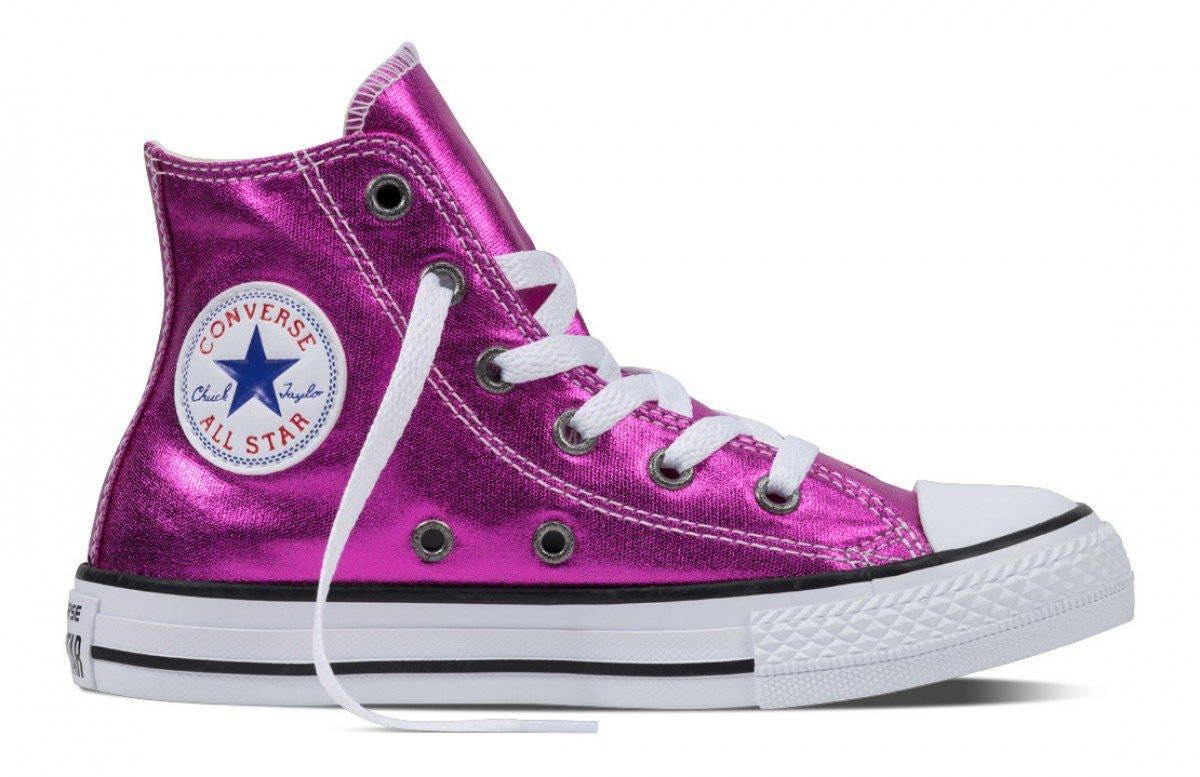 53b5bb4d481 Pink Converse High Tops Magenta Fuchsia Metallic Wedding Chuck ...