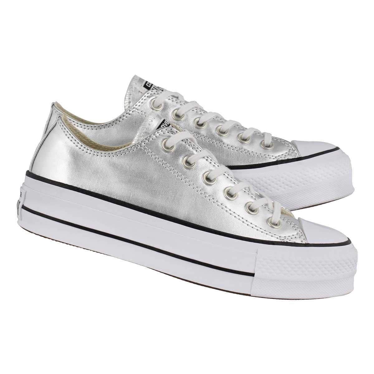 4d82a82b8b0 Silver Converse Platform heel Metallic Lift Low Top Club shoes w  Swarovski  Crystal Rhinestone Chuck Taylor All Star Wedding Bride Sneakers