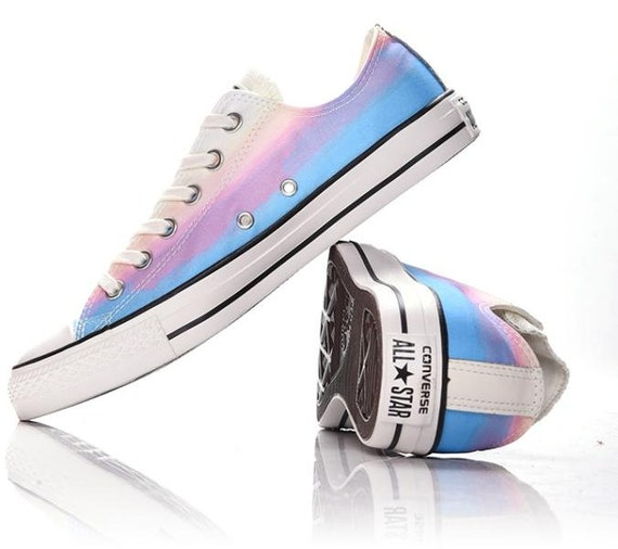 Converse Low Top Rainbow W US 9 Wash faded Ombre Multi Blue Motel Daybreak Pink Purple Custom w/ Swarovski Crystal Rhinestone Sneakers Shoes