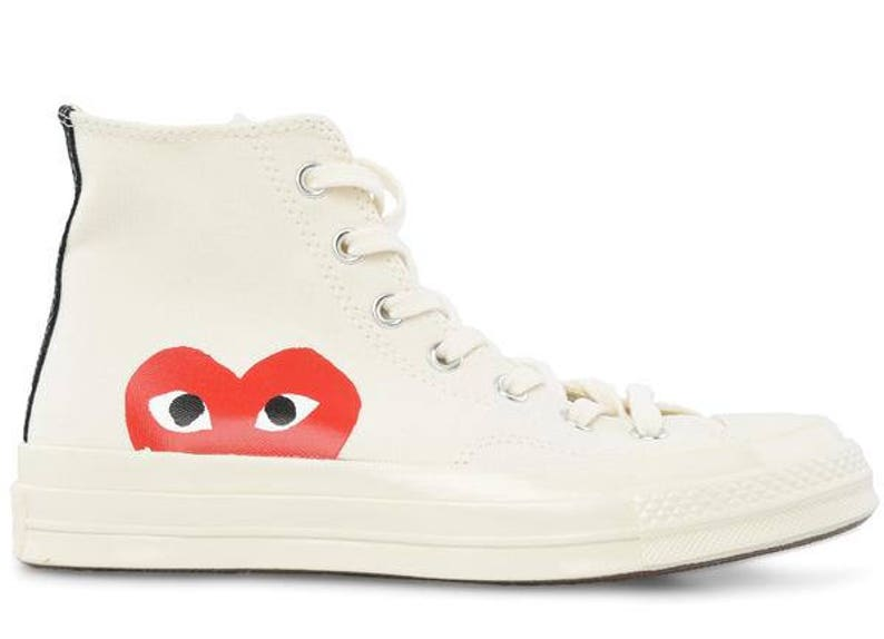 0180baac272c White Converse High Top Red Peek a Boo Heart Ladies Mens w