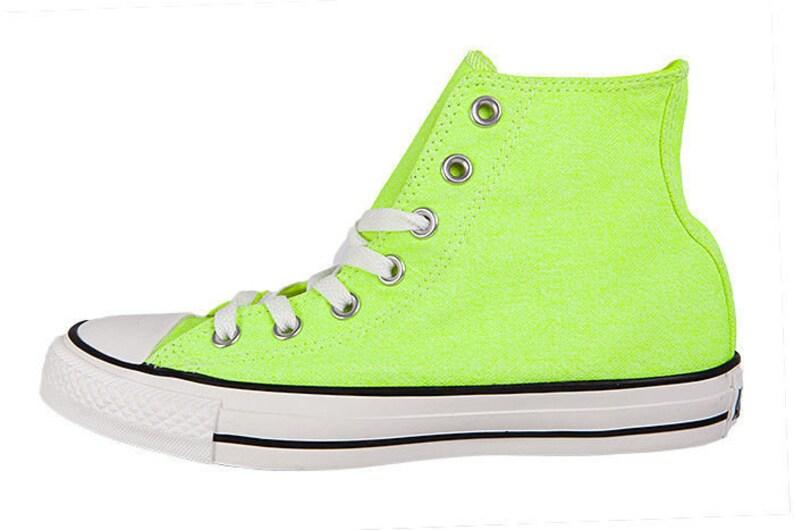 123875d744277d Neon Yellow Converse High Top Canvas shoe Custom Jewel Bling