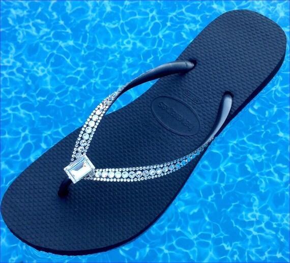 Havaianas Slim Custom Sophisticate Crystal Flip Flops w/ Swarovski Crystal Bling Princess Baguette Bride Sandal Jewel Rhinestone Thong Shoes