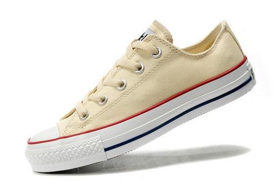 Cream Ivory Converse Low Top Canvas Beige Off White Bridal w/ Swarovski Crystal Rhinestone.Chuck Taylor All Star Bride Wedding Sneakers Shoe