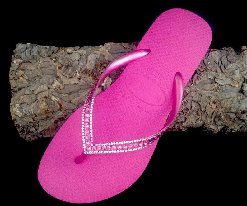 e61a5b4ddd5ae9 Pink Havaianas Slim Flip Flops Hot Fuchsia Rose Custom Crystal