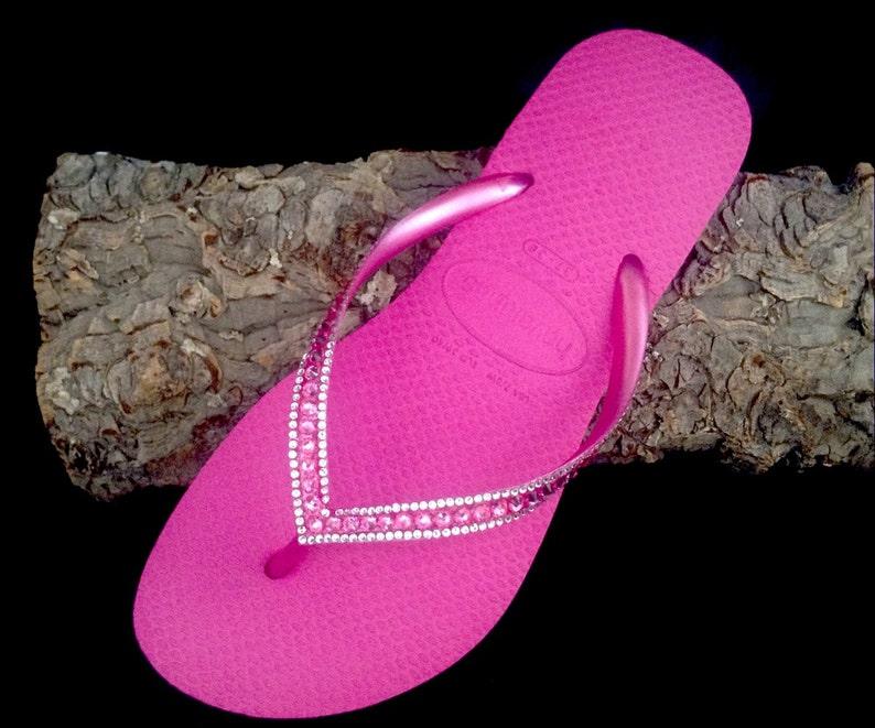 03f34667f127a5 Pink Havaianas Slim Flip Flops Hot Fuchsia Rose Custom Crystal