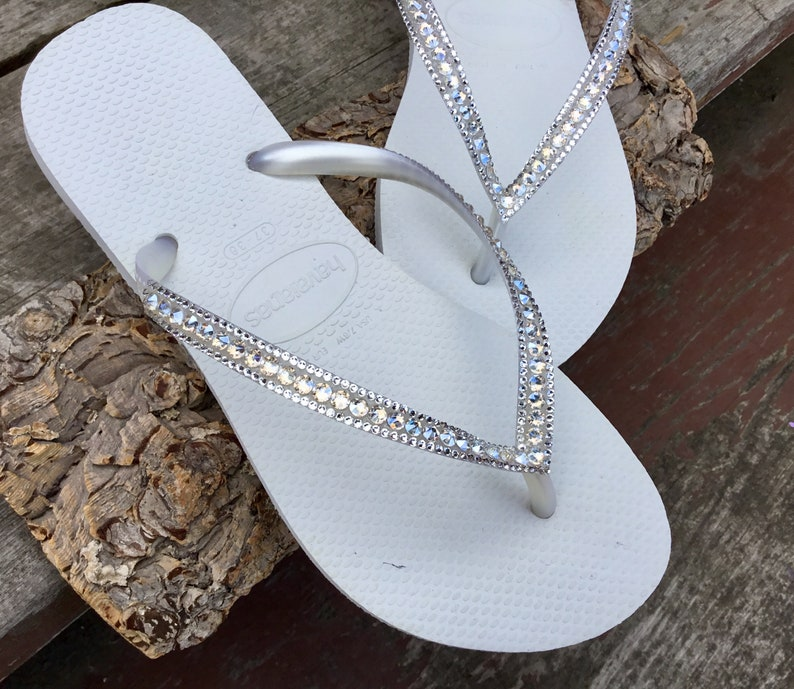 50dacd35911b White Havaianas Flip Flops Slim Ivory Moonlight Crystal Ocean Custom Bridal  w  Swarovski Bling Dynamite Rhinestone Beach Wedding Thong Shoes