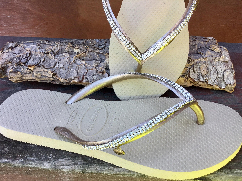 6fa56bce08ee Custom Havaianas Slim Flip Flops with Silver Cup Chain Mesh Crystal ...