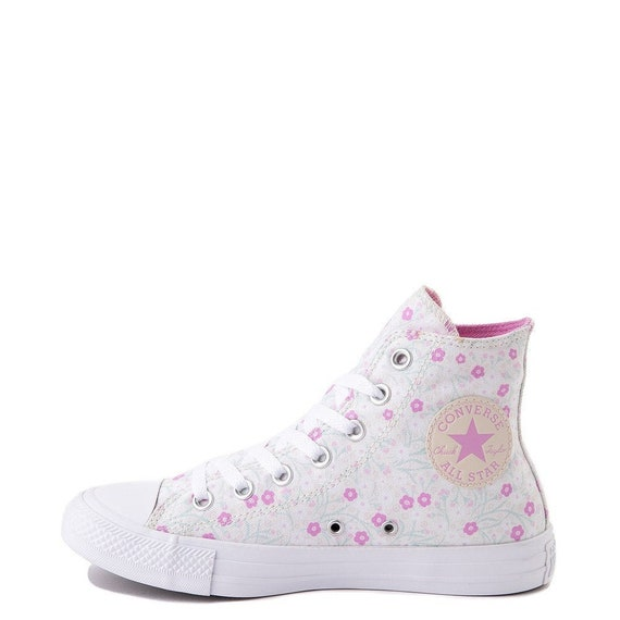 Floral Converse Pink Mint Aqua High Top Multicolor White Flowers Chuck Taylor Custom w/ Swarovski Crystal All Star Wedding Sneakers Shoes