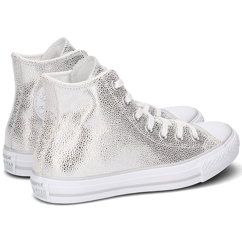 05c11dc2cec Silver Converse High Top Gray Stingray Grey Leather w
