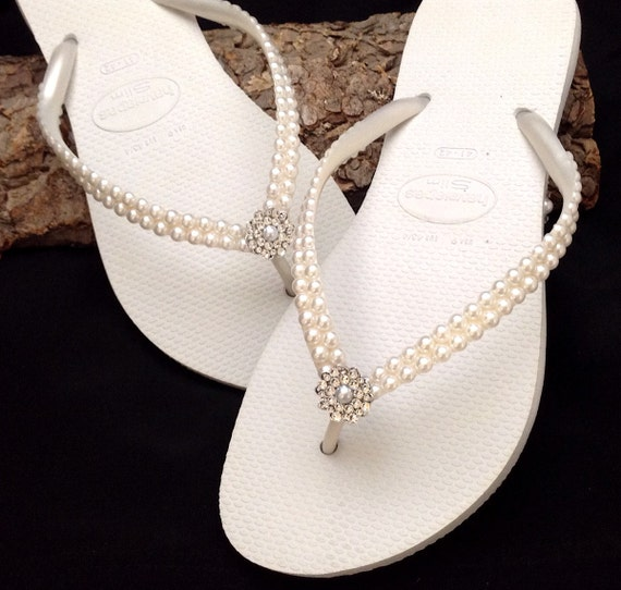 White Pearl Havaianas Slim Flip Flops Bridal Crystal Rose w/Swarovski Rhinestone Bling Bride Silver BridesMaid Beach Wedding shoes