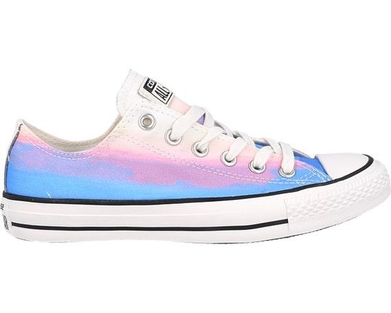 Rainbow Converse Low W US 9 Wash faded Ombre Multi Blue Motel Daybreak Pink Purple Custom w/ Swarovski Crystal Rhinestone Sneakers Shoes