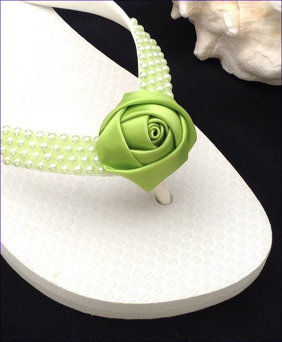 Custom Pearl Flip Flops Satin Rose Bud Beach Bride Wedding Flower Girl Bridesmaid White Havaianas flat or Cream Cariris 1.5 Wedge Heel Shoes
