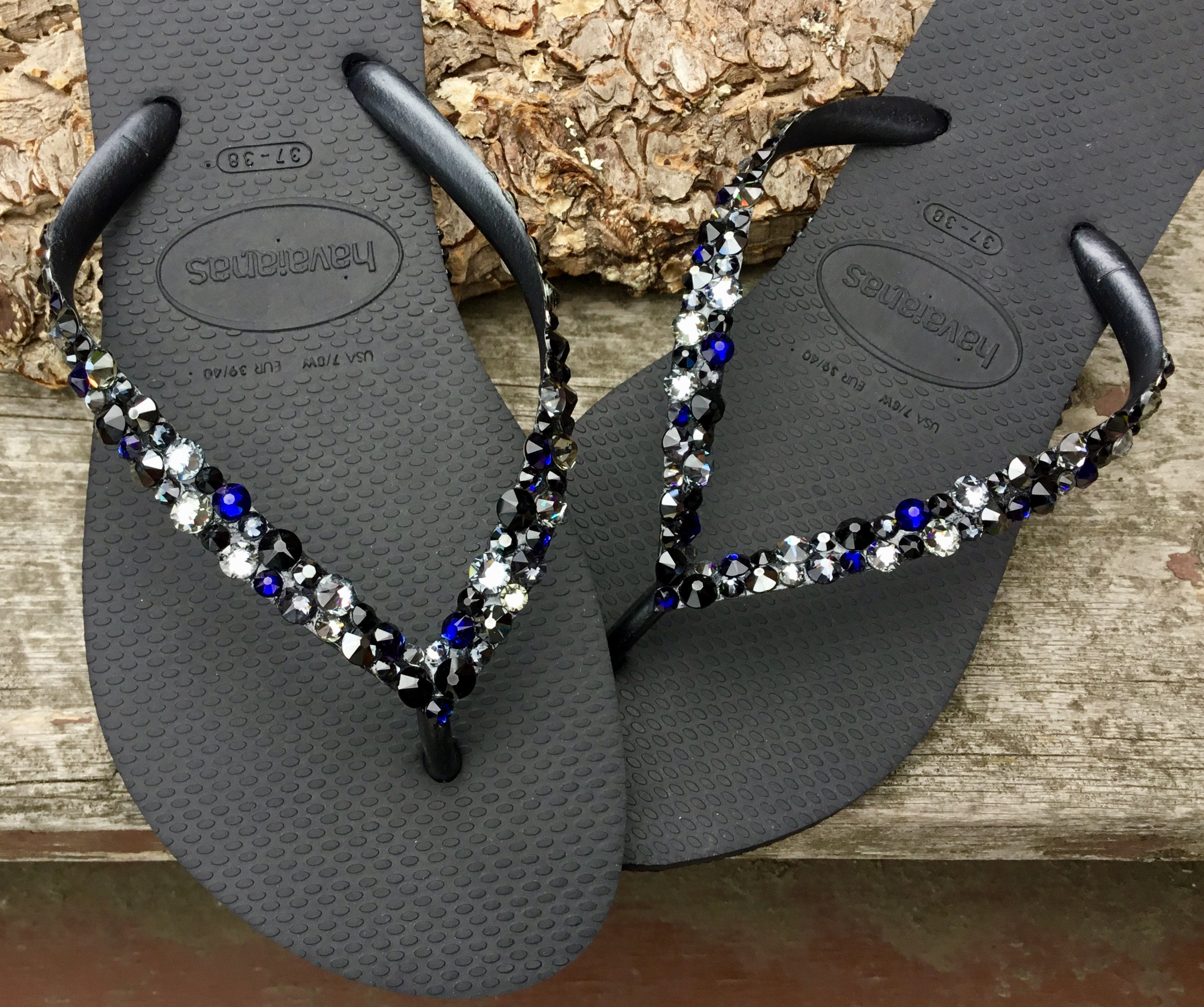 230b958ec7c09 Crystal Flip Flops Beach Glass Black Silver Blue Havaianas Slim w ...