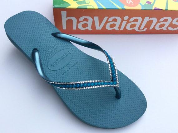 Blue Havaianas Slim Flip Flops Azure Mineral Teal Turquoise Sea Ocean Custom w/ Swarovski Rhinestone Jewel Beach Bridal Wedding Bling Shoes