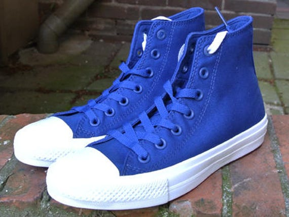 Blue Converse High Tops Mens Chuck Taylor II Navy Marine Ocean Sea Canvas w/ Swarovski Crystals Rhinestones All Star Wedding Sneakers Shoes