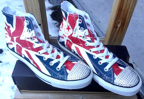 Converse Union Jack High Top Ladies Men Chili Pepper UK Flag British English w/ Swarovski Crystal Chuck Taylor All Star Sneaker Trainer Shoe