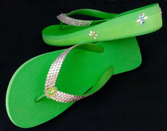 Dragonfly Flip flops Custom Green sandals Crystal Good Luck garden w/ Swarovski Rhinestones Jewels 1.5 Wedge Heels Thong Beach Bling Shoes