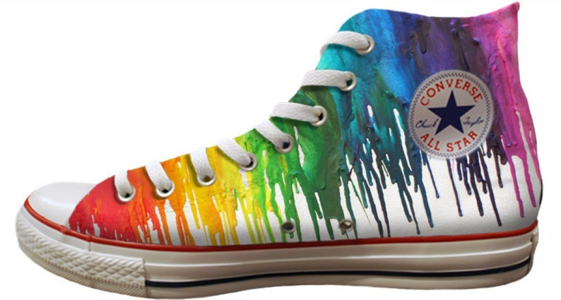 2bae451e5b0f Custom Print Rainbow Crayon Drip Pride Parade LGTBQ High Top