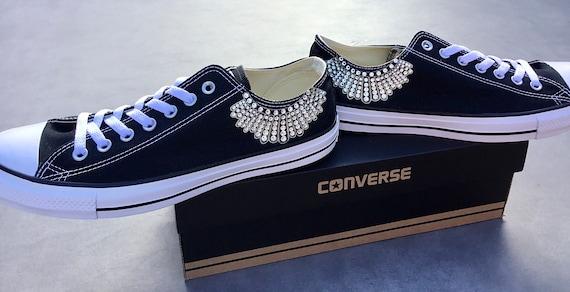 Dissent Collar Notorious RBG Justice Ruth Bader Ginsburg Tribute Jabot Custom Chucks Low Kicks w/ Swarovski Crystal Rhinestone Sneaker Shoes