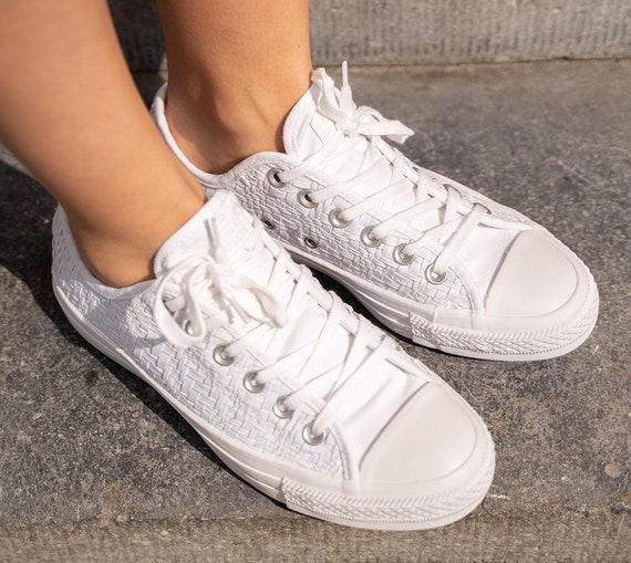 White lace Converse Crochet Knit Weave