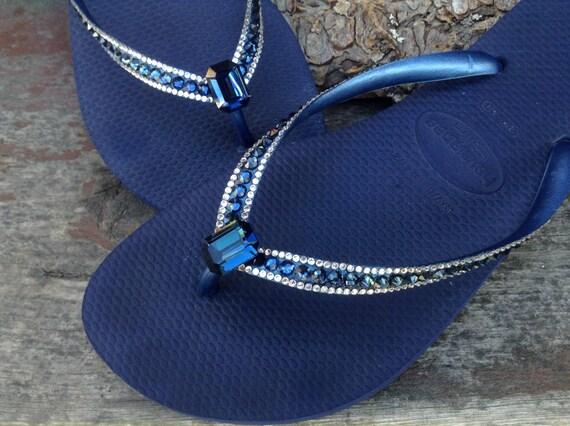 Blue Flip Flops Crystal Havaianas Slim Navy Montana Ocean Sea w/ Swarovski Baguette Sophisticate Wedding Sandal Jewel Rhinestone Beach Shoes