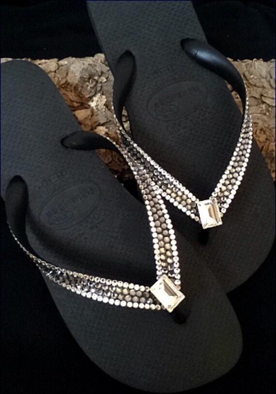 ff9faacacadefa Silver Crystal Flip Flops Flat Dark Gray Custom w  Swarovski